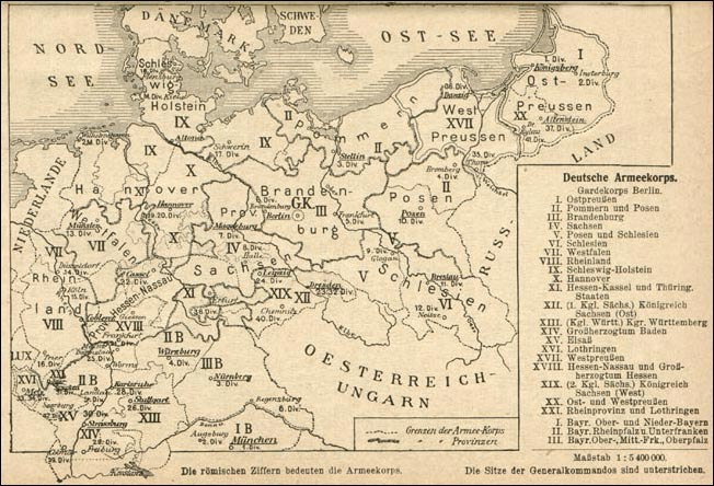 August 1914 - Map of the Imperial German Order of battle.