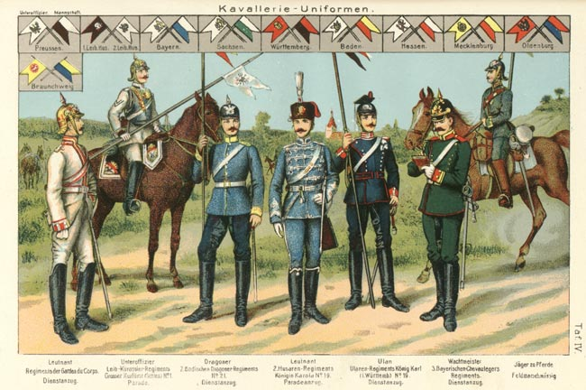 Dress uniforms of Imperial German cavalry regiments - 1914.