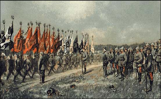 Regimental colours march past in review for the Kaiser - 1914.
