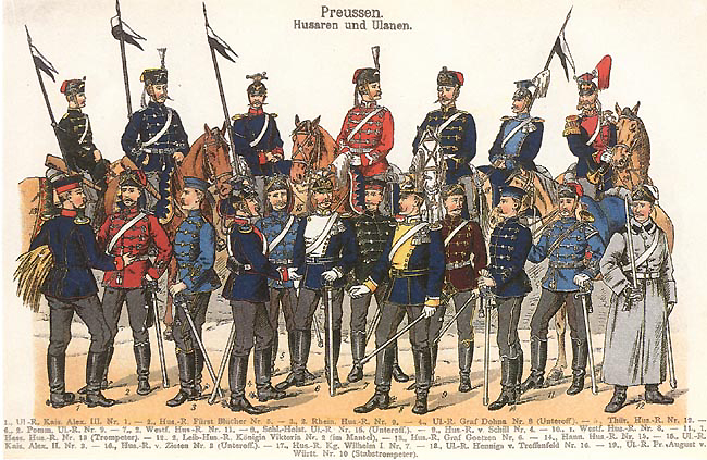 Dress uniforms of Prussian husar and ulan regiments-1914.