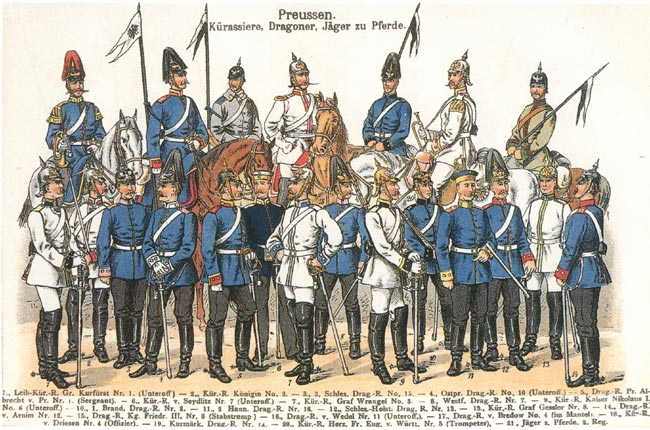 Dress uniforms of Prussian curassier, dragoon and Jaeger zu Pferde regiments
